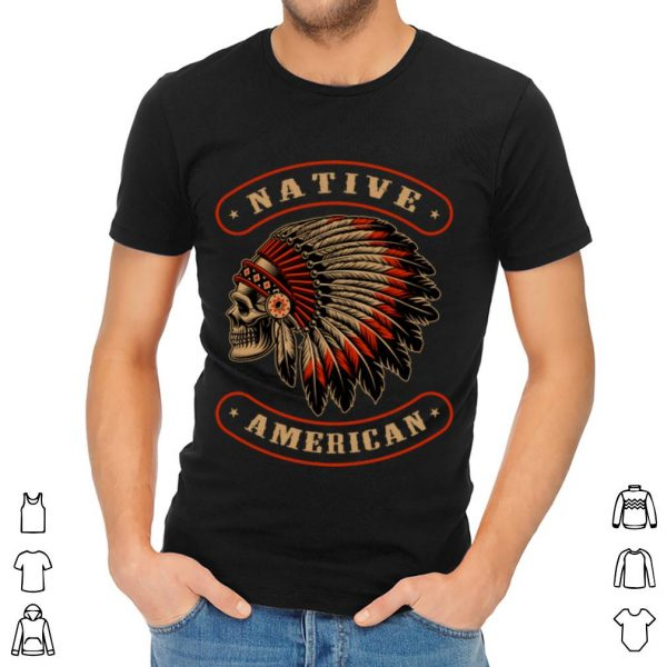 Awesome Native American Indians Chief Skull War Bonnet Feather Hat shirt