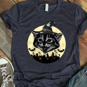 Awesome Vintage Scary Halloween Black Cat witch Hat Moon Pumpkin Bat shirt