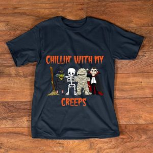 Hot Chillin With My Creeps Vampire Halloween Skeleton Witch shirt