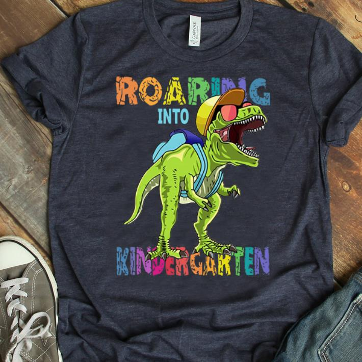 Hot Dinosaur T Rex Roaring Into Kindergarten shirt 1 - Hot Dinosaur T-Rex Roaring Into Kindergarten shirt