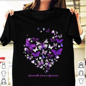 Hot Pancreatic Cancer Awareness Butterfly Heart shirt