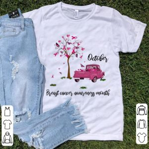 Premium Pink Ribbon Car Tree October Breast Cancer Awareness Month shirt