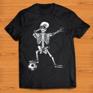 Pretty Dabbing Skeleton Soccer Halloween Costume Funny For Boy Kids shirt