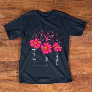 Pretty Faith Hope Love Pink Ribbon Daisy Flower Breast Cancer shirt