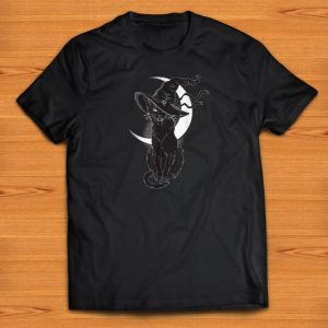 Pretty Halloween Black Cat Costume Witch Hat & Moon shirts