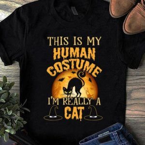 Pretty This Is My Human Costume I'm Really A Cat Funny Halloween shirt