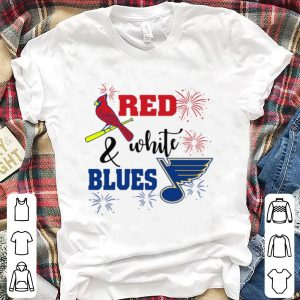 Pretty White Blues St. Louis Blues And St. Louis Cardinals Red shirt