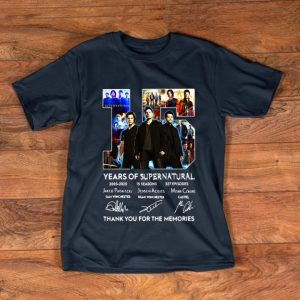Top 15 Years Of Supernatural Thank For The Memories Signature shirt
