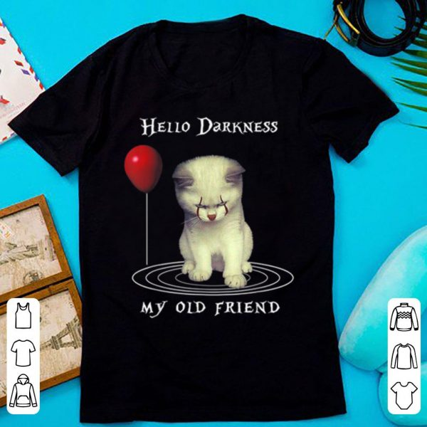 Top Halloween hello darkness my old Friend Cat shirt