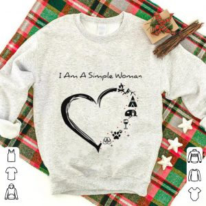 Top I am a simple woman heart camping mountain wine animals and flip flop shirt
