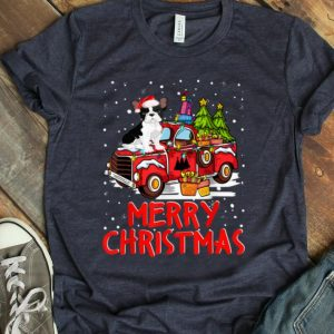 Awesome French Bulldog Rides Red Truck Merry Christmas Pajama Funny shirt