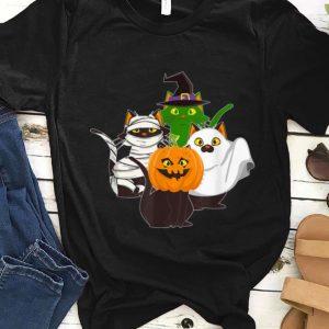Hot Ghost Witch Mummy Pumpkin Cats Halloween Cat Lovers shirt