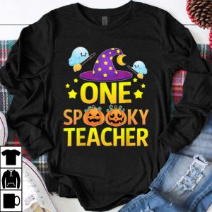 Hot One Spooky Teacher Halloween Gifts Ghost Witch Hat shirt