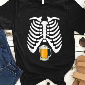 Hot Skeleton Pregnancy Beer Funny Halloween New Dad Gift shirt