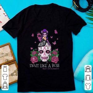 Official Sugar Skull Fight Like A Boss Breast Cancer Awareness shirt