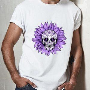 Official Sugar Skull Sunflower Purple Ribbon Epilepsy Awareness shirt