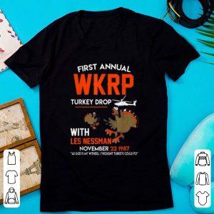 Original First Annual Wkrp Turkey Drop With Les Nessman Thanksgiving shirt