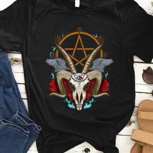 Original Halloween Baphomet Satanic Goat Ram Head Lucifer Eye shirt