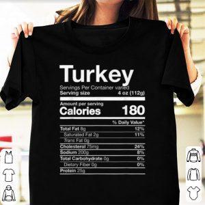 Original Turkey Nutrition Funny Thanksgiving Food Costume Dark shirt