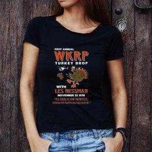Premium First Annual WKRP Turkey Drop Turkey Drop With Les Nessman November 22 1978 shirt