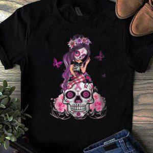 Premium Sugar Skull Pink Ribbon Breast Cancer Awareness Flower Skulls shirt