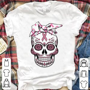 Pretty Sugar Skull Pink Ribbon Day Of The Dead Breast Cancer Awareness shirt