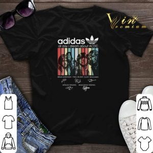 vintage adidas all day i dream about ACDC signatures shirt