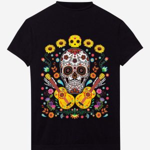 Awesome Flower Guitar Sugar Skull The Day Of The Dead shirt