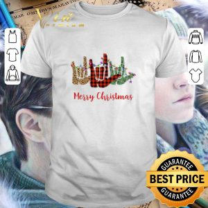 Awesome Merry Christmas Leopard Plaid sign language shirt