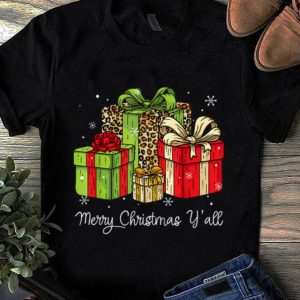 Awesome Merry Christmas Y'all Leopard Print Christmas Gift Box Xmas shirt