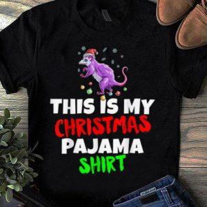 Awesome This Is My Christmas Pajama Possum Santa Hat Gift shirt