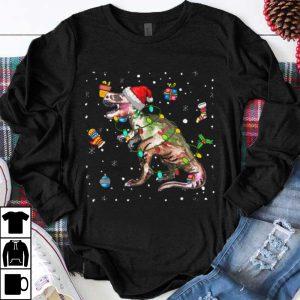 Great dinosaur Lights with Santa Hat Christmas Pajamas Funny Gifts shirt