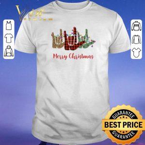 Hot Merry Christmas Leopard Plaid sign language shirt sweater