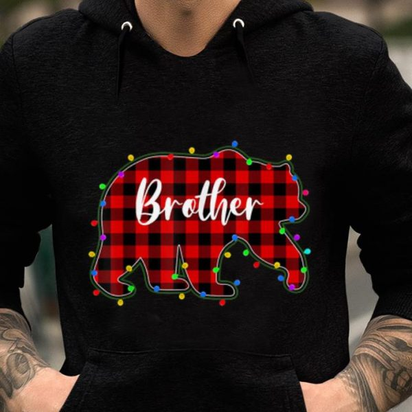 Hot Red Plaid Brother Bear Xmas Lights Matching Pajama Family sweater