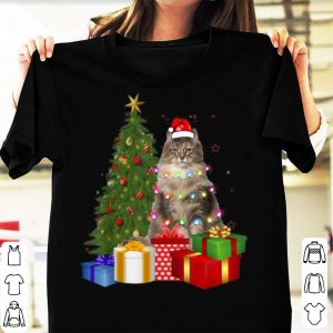 Hot Santa Norwegian Forest Cat Christmas Tree Light Xmas Cat shirt