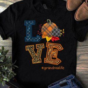 Official Womens LOVE Grandma Life Plaid Pumpkin Fall Thanksgiving shirt