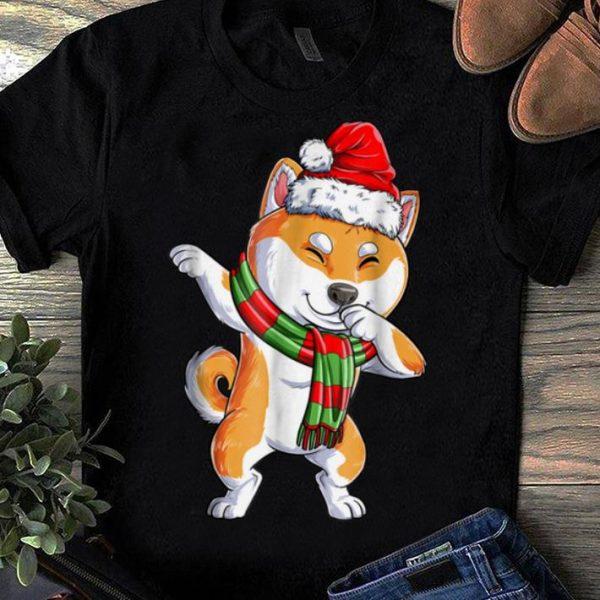 Premium Dabbing Shiba Inu Santa Christmas Kids Boys Gifts shirt