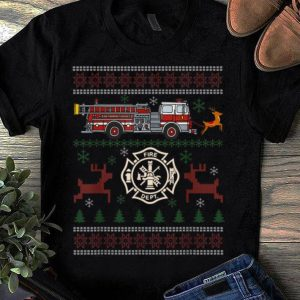 Premium Fire truck Reindeer Firefighter Ugly Christmas Gifts shirt