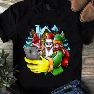 Premium Santa Elf Reindeer Selfie Christmas Friends Group shirt