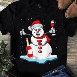 Premium Snowman Wine Christmas Pajama Cute Snowman Drinking Wine shirt