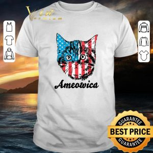Pretty Ameowica Cat 4th of July Independence Day American flag shirt