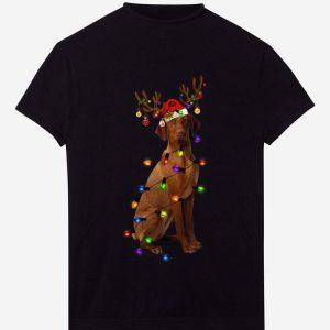 Pretty Funny Vizsla Christmas Reindeer Christmas Lights Pajama shirt