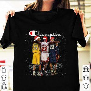 Pretty Santa LeBron James Kobe Bryant Michael Jordan Champion Christmas shirt