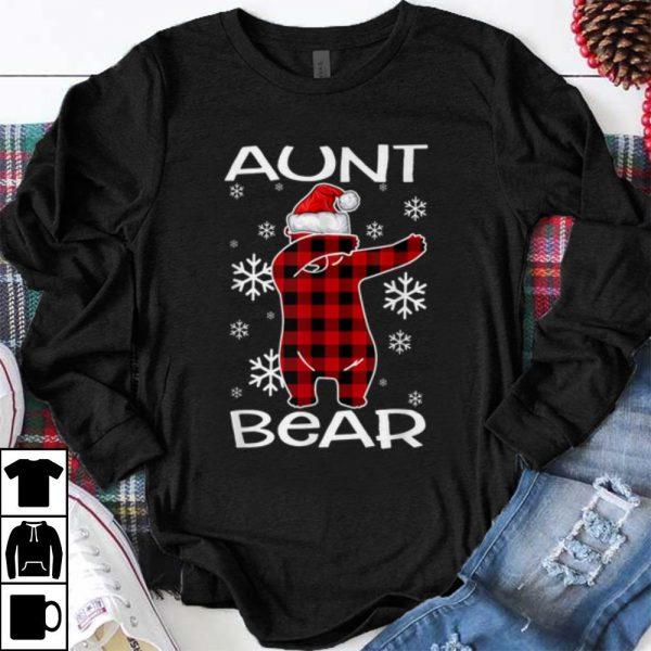 Top Aunt Bear Pajama Dabbing Hat Santa Christmas Family Ugly shirt