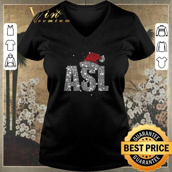 Top Glitter ASL Santa hat Christmas shirt sweater