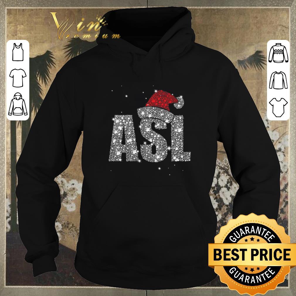 Top Glitter ASL Santa hat Christmas shirt sweater 4 - Top Glitter ASL Santa hat Christmas shirt sweater