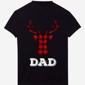 Top Matching Family Christmas Plaid Reindeer Tee Dad shirt