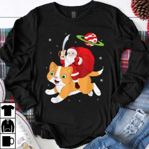 Top Santa Claus With Sword & Xmas Gift Riding Cat On Space Snow shirt