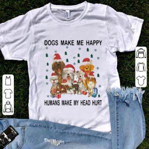 Awesome Christmas Santa Dogs Make Me Happy Humans Make My Head Hurt shirt