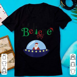Awesome Funny Santa Claus Believe UFO Christmas sweater